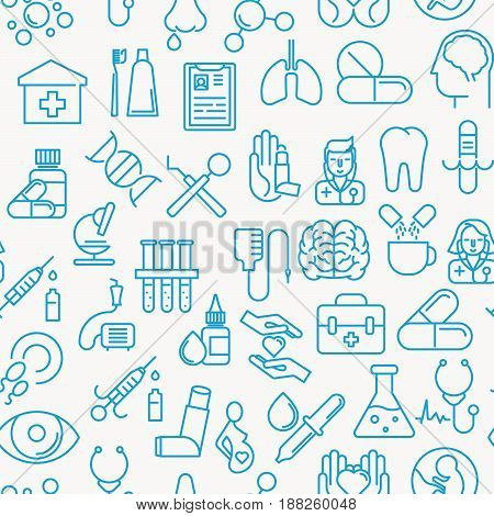 Medical and healthy conceptual seamless pattern with thin line icons. Background vector illustration for web site, app, clinic or insurance.