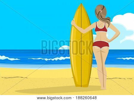 Rear view of young woman with surfboard looking into the distance. Copyspace for text