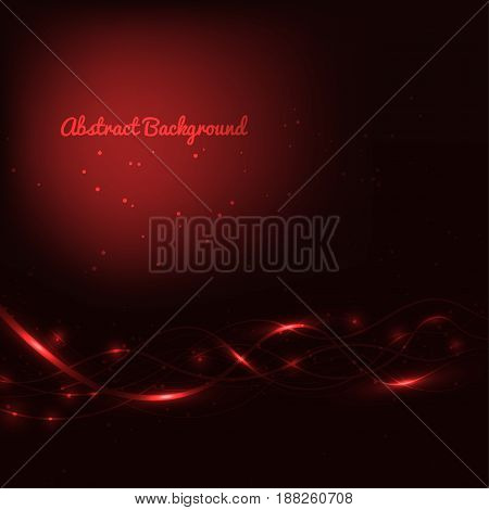 Abstract red background with lines and lights