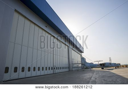 Airport Hangar From The Outside
