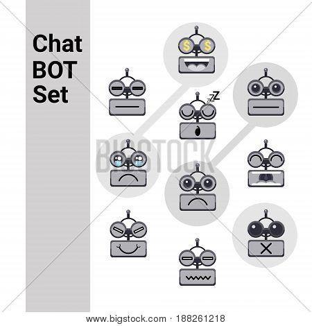Cartoon Robot Face Smiling Cute Emotion Negative Chat Bot Icon Set Flat Vector Illustration