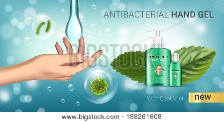Cool mint flavor Antibacterial hand gel ads. Vector Illustration with antiseptic hand gel in bottles and mint leaves elements. Horizontal banner.