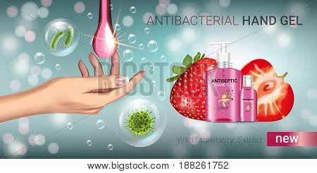 Strawberry flavor Antibacterial hand gel ads. Vector Illustration with antiseptic hand gel in bottles and strawberry elements. Horizontal banner.