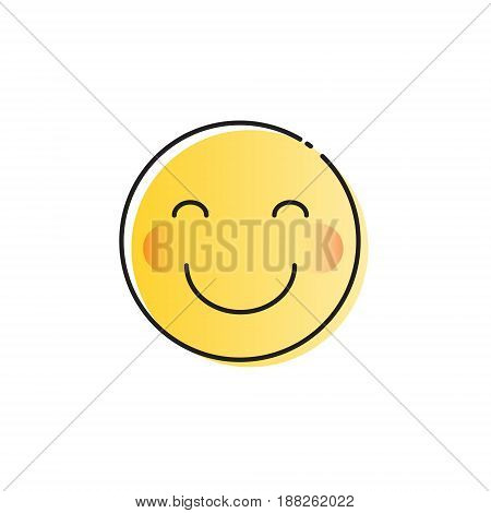 Yellow Smiling Cartoon Face Shy Positive People Emotion Icon Vector Illustration