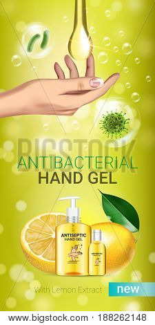Lemon flavor Antibacterial hand gel ads. Vector Illustration with antiseptic hand gel in bottles and lemon elements. Vertical banner.