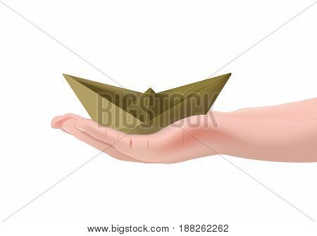Paper boat over a palm of your hand