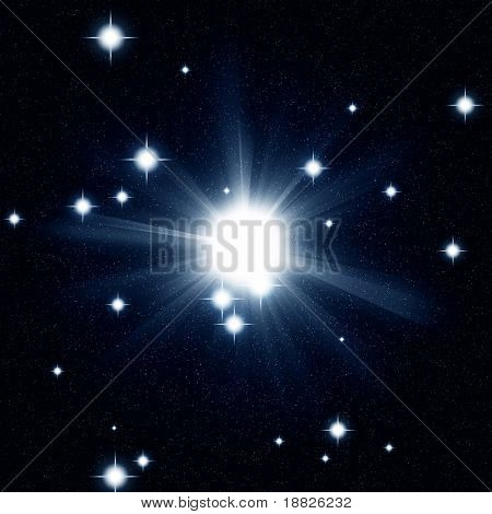 Bright illustrated star in space
