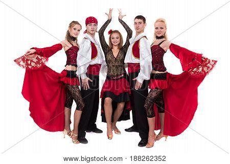 flamenko dancer team dancing isolated on white background in full length