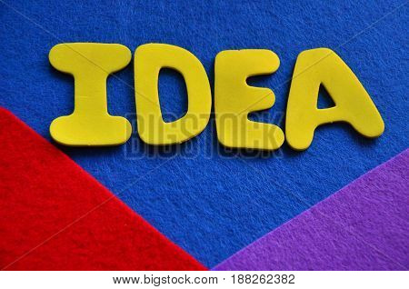 word idea on a abstract colorful background