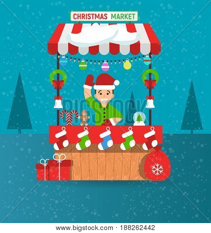 Happy young man and christmas market stall with souvenirs in modern flat style. Garlands. Vector illustration. Invitation card Merry Christmas and happy new year on fair.