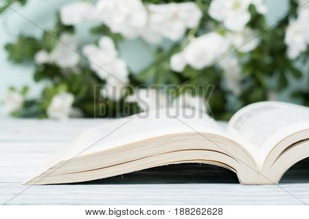 Open hardback book, on wooden table. natural background . Back to school. Copy space for text