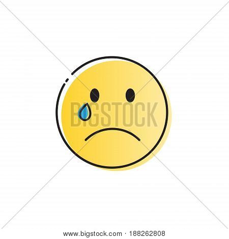 Yellow Cartoon Face Cry Tears People Emotion Icon Vector Illustration