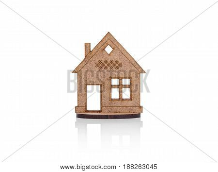 Model of a small house. Isolated on white background.