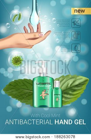 Cool mint flavor Antibacterial hand gel ads. Vector Illustration with antiseptic hand gel in bottles and mint leaves elements. Vertical poster.