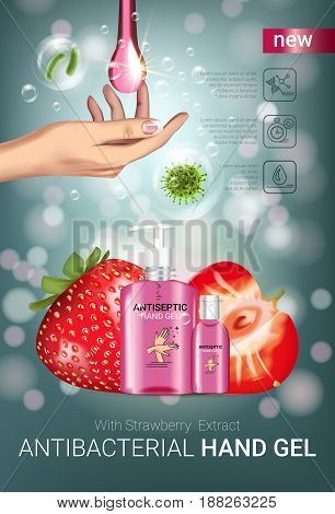 Strawberry flavor Antibacterial hand gel ads. Vector Illustration with antiseptic hand gel in bottles and strawberry elements. Vertical poster.