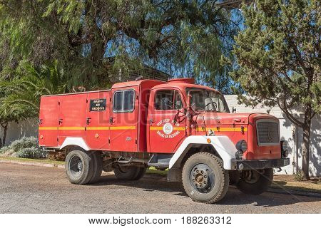 MATJIESFONTEIN SOUTH AFRICA - APRIL 2 2017: An historic fire truck in Matjiesfontein a village in the Karoo region of the Western Cape Province. The villageis a museum