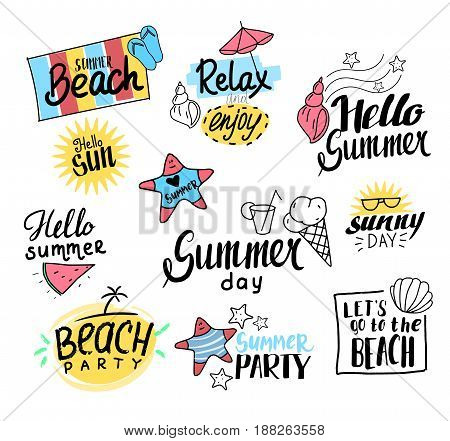 Summer labels, logos, and elements set for summer holiday, beach. Vector illustration. Hand drawn style