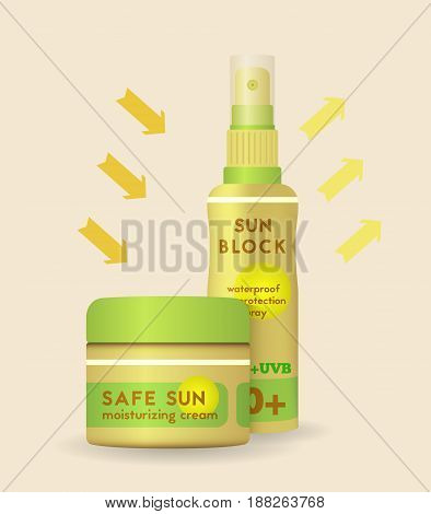 Sunblock waterproof spray and moisturizing cream can protecting and reflecting harmful uv radiation color vector illustration