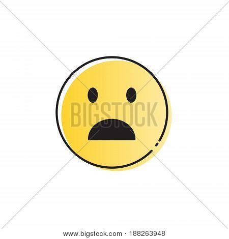 Yellow Cartoon Face Shocked People Emotion Icon Vector Illustration