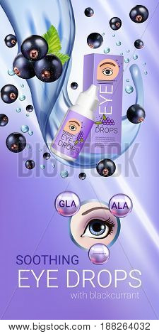 Black currant eye drops ads. Vector Illustration with collyrium in bottle and blackcurrant elements. Vertical banner.