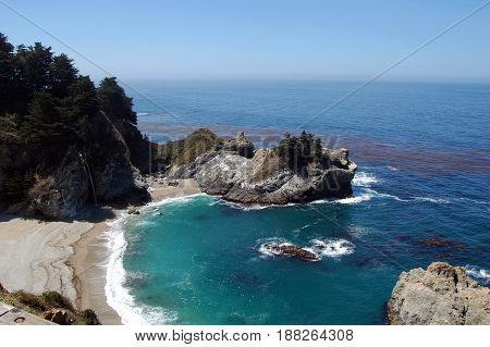 Pacific coastline with waterfall in CaliforniaHighway one USA