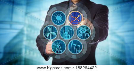 Blue chip manager monitoring energy efficiency via a virtual control interface. Industry concept for efficient energy use sustainability reporting audit and rise in renewable power generation.