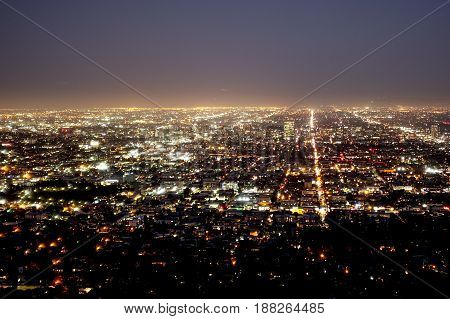Amazing aerial view over Los Angeles by night