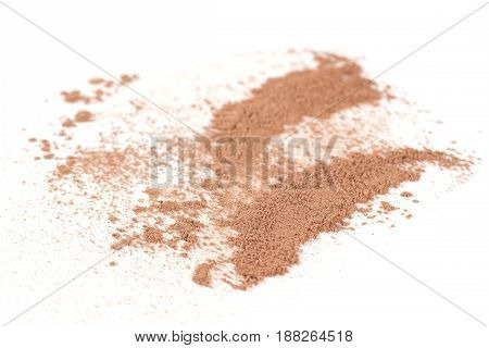 Face crushed powder isolated on white background.