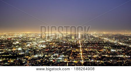 Los Angeles by night - wide angle aerial view