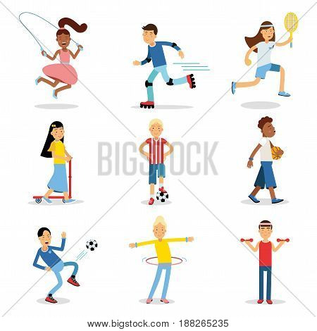 Teenagers doing different sport set. Children physical activity vector illustrations isolated on a white background