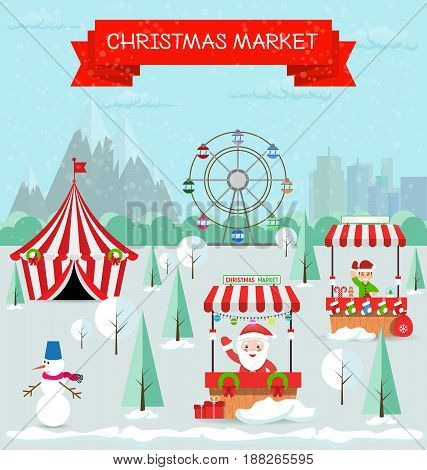 Invitation card Merry Christmas and happy new year on fair. Vector illustration flat style. Market stall, circus, ferris wheel, snowman, santa claus, christmas trees are covered with snow.