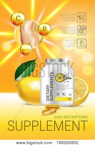 Lemon balm dietary supplement ads. Vector Illustration with Lemon supplement contained in bottle and lemon elements. Vertical poster.