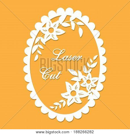 Vector laser cut with floral ornament orange with format eps10.
