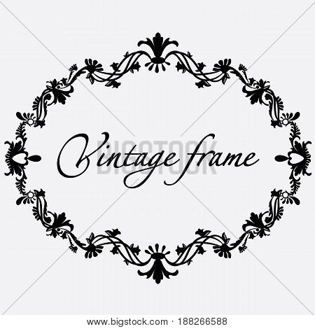 Vector vintage frame with flower ornament with format eps10.