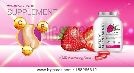 Strawberry dietary supplement ads. Vector Illustration with supplement contained in bottle and strawberry elements. Horizontal banner.