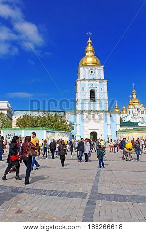 KYIV, UKRAINE - MAY 01, 2017: St. Michael's Golden Domed Monastery. Comprises the cathedral itself in Kyiv, the capital of Ukraine. Famous religious place in Ukraine