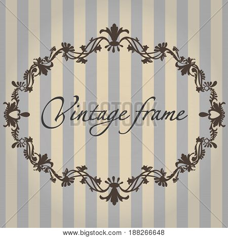 Vector vintage frame with flower ornament color with format eps10.