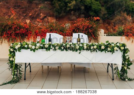 Wedding table in the mountains. Wedding in Montenegro