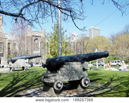 Toronto Canada - April 14 2010: The Historical Cannons at University of Toronto.