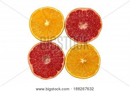 orange and grapefruit isolated on white background. Healthy food.