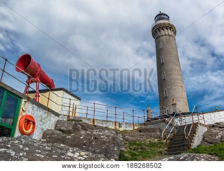 Tower and Foghorn of Ardnamurchan Lighthouse, Scotland, United Kingdom