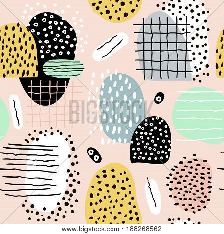 Seamless abstract pattern with hand drawn shapes and elements. Vector trendy texture