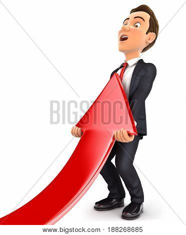3d businessman lifting up red arrow illustration with isolated white background