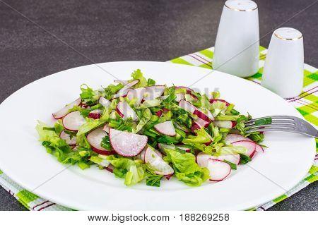 Vegetarian salad with fresh radish, arugula, spinach. Studio Photo