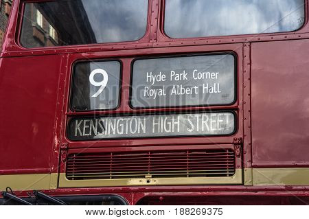 detail of a red double decker in london