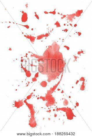 Red watercolor splash, isolated on white background.