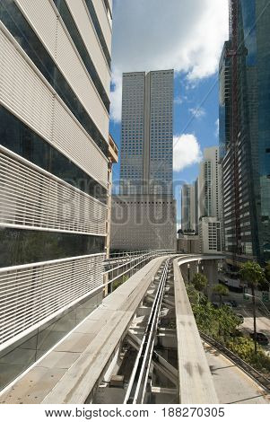 The view of a monorail track the free public transportation in Miami downtown (Florida).