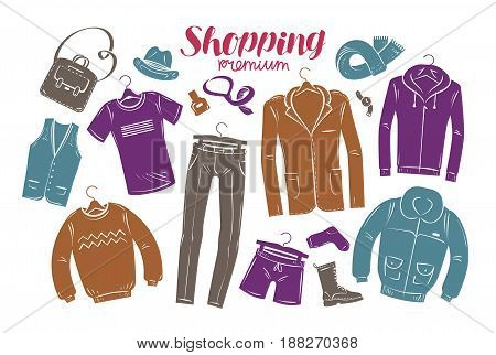 Fashion, boutique concept. Collection of fashionable men's clothing. Vector illustration isolated on white background