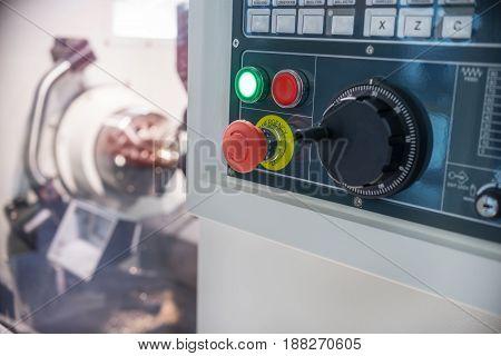 Numeric keypad CNC machine control panel. Shallow depth of field.