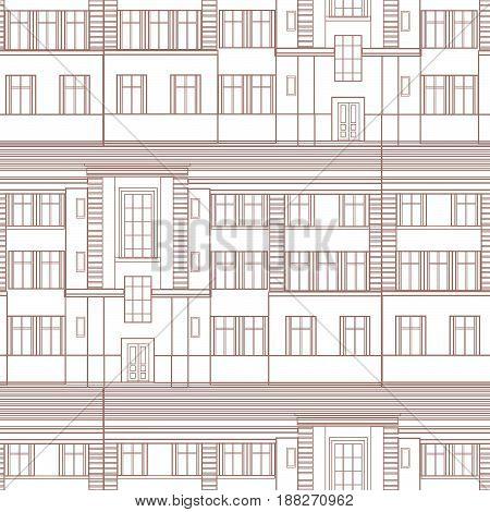 Building facade seamless pattern. City architectural blueprint line background design element